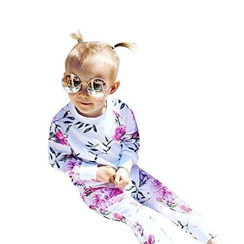 Vovotrade Filles T-Shirt à Manches Longues bébé Ensemble de 2 pièces Nouveau-né T-Shirt à Fleurs Tops + Pantalons Enfants Baby Party Wedding Printemps d'été Élégant Mode Vêtements 0mois-24mois