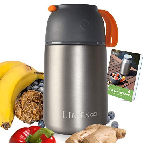 Limes 8 Thermobehälter Lunchbox 700ml & 500ml Edelstahl Isolierbehälter, Food Jar auslaufsicherer Speisebehälter Essen, Thermo Gefäß Babynahrung Speisegefäß Diätkost Müsli to go BPA-frei 700ml