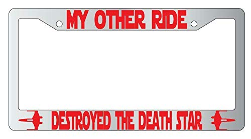 Marco de matrícula de metal de My Other Ride Destroyed The Death Star de Star Wars, universal para matrícula de coche, a prueba de óxido, resistente a la intemperie, 15 x 30 cm