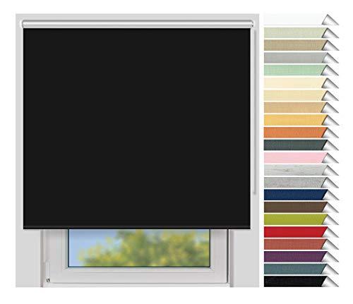 EFIXS Thermorollo Medium - 25 mm Welle - Farbe: schwarz (069) - Breiten: 40-240 cm - Hier: 220 x 190 cm (Stoffbreite x Höhe) - Hitzeschutzrollo - Verdunklungsrollo