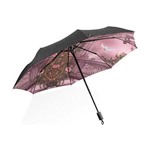 Phantasie Regenschirme Für Frauen Fantasie Künstlerische Bogen Rose Rosa Vine Dove Kerze Tragbare Kompakte Taschenschirm Anti Uv Schutz Winddicht Outdoor Reise Frauen Auto Regenschirm Für Kinder