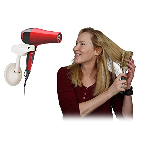 Bestie Adjustable Hair Dryer Holder - Hands Free Blow Drying with Fully Positionable Arm, Permanent Wall Mount or Temporary Suction Mount to Mirror