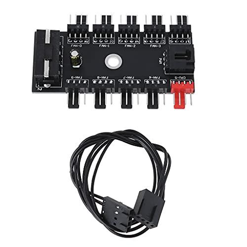 RG-FA PWM - Cable de alimentación para ventilador de 1 to10 divisor para PC (4 pines)