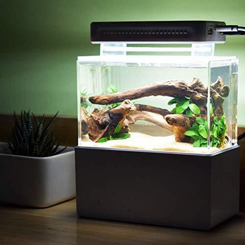 KHTO Mini Kunststoff Aquarium Portable Desktop Aquarium Fischschale mit Wasserfiltration LED & Leise Luftpumpe für Dekor (Schwarzes mit LED-Licht)