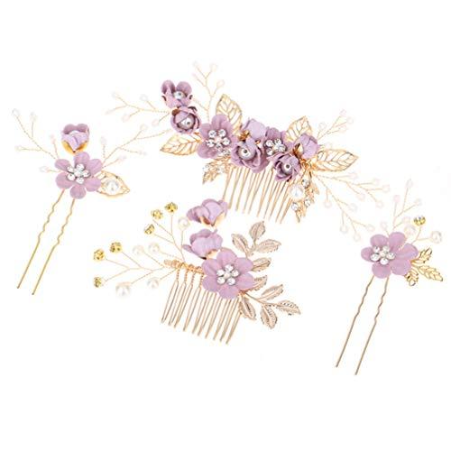 STOBOK Juego de 4 tocados de pelo morado con flor y perlas de cristal, peinetas para el cabello de novia para el cabello de novia, accesorios de novia para mujeres y niñas (morado)