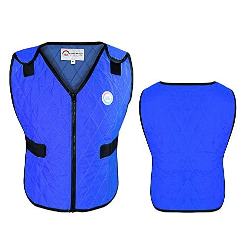 Climafusion Cooling Vest for Women & Men, Unisex, Body Heat Regulation, Cooling Jacket, Adjustable Ice Vest Gear (L/XL Blue)