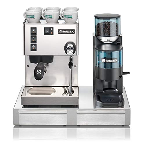 Rancilio Silvia M V6 and Rocky Bar Combo (Silver, Doser with Base)
