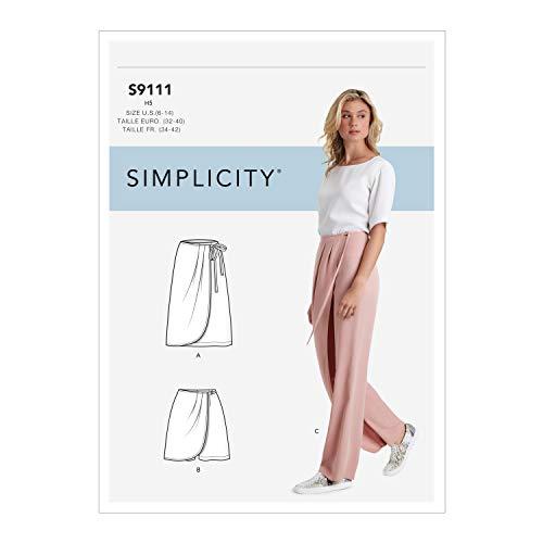 Simplicity SS9111U5 Schnittmuster S9111 für Damenhosen, Röcke und Shorts, verschieden, U5 (16-18-20-22-24)