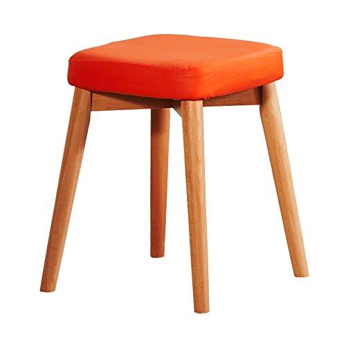 ZHANGRONG- Tabouret de bar petit déjeuner 45cm haut | Siège de cuisine en bois approprié pour des tables de barre de petit déjeuner -Tabouret de canapé (Couleur : Orange)