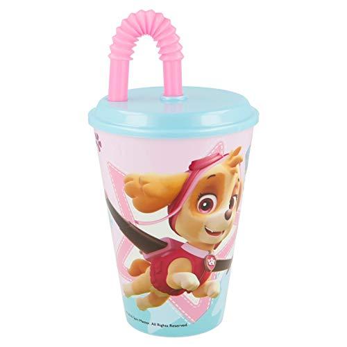 Bicchiere Sport con Cannuccia 430 ml per Bambini in plastica (Paw Patrol Bambina Skye)