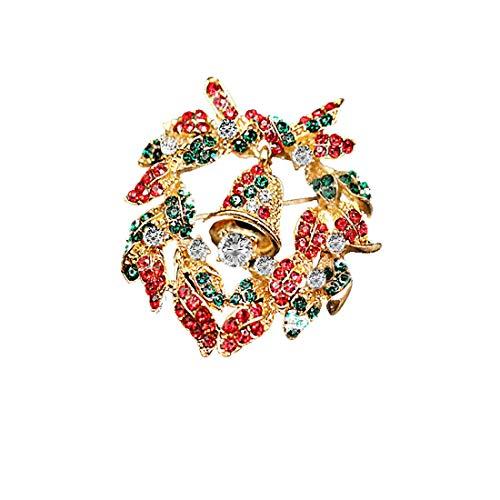 Casa perfetta Perfect home Europa en Amerika Kerst klokken kransen diamanten driedimensionale broche fijne legering strass krans broche kraag pin eenvoudige sieraden
