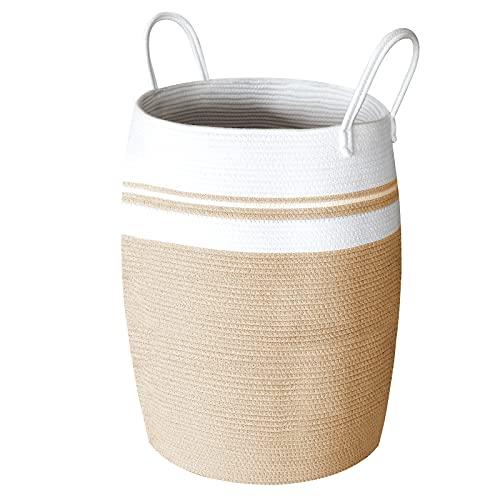SWAWIS Cesta Ropa Sucia de Cuerda de algodón Almacenamiento, Cesta Plegable Colada, Tejida Canasta Grande con Mango, Blanco y marrón, 65 x 49 cm