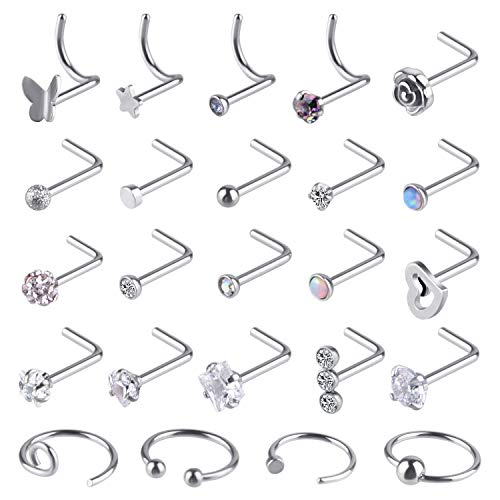 TUPARKA 24 Pcs Nose Rings Set Czech Diamond Nose Stud Butterfly Star Rose Nose Screw Nose Hoop Ring Earrings Lip Piercing Jewellery, 20 G