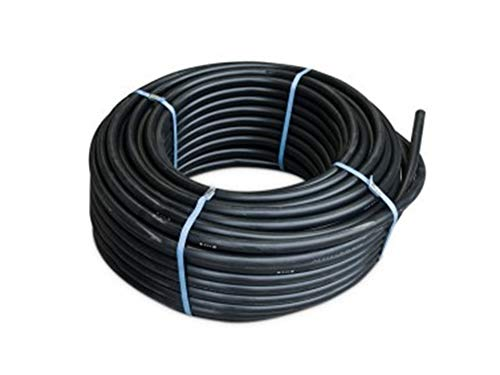 Buis 25 mm van polyethyleen AGRICOLA. Maximale druk: 6 bar. 100 meter spoel. Kleur: zwarte tuinslang 25 mm 6 bar met lage dichtheid voor irrigatiesystemen. Hoge kwaliteit.