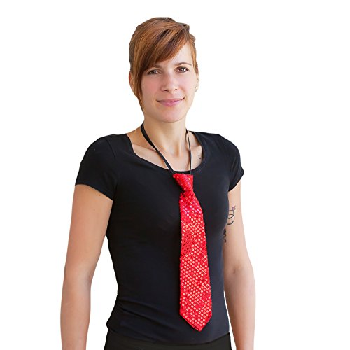Oblique-Unique® Pailletten Glitzer Krawatte Schlips - Party Fasching Karneval (Rot)