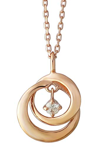 [ピンキーアンドダイアン]PINKY&DIANNE 天然ダイヤモンド サークル K10 ピンクゴールド ネックレス レディース 10金 10k 透かし 誕生石 4月