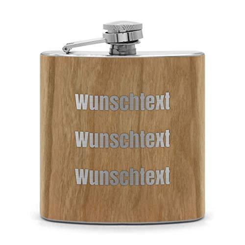 printplanet® - Holz Flachmann mit Name oder Text graviert - Schnaps-Flasche mit Namensgravur selbst gestalten - 3 Textzeilen