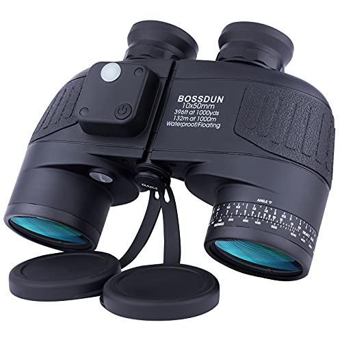 10x50 Binocolo Marino per Adulti, Binocoli Militare Impermeabile con Bussola Telemetro BAK4 Prisma...
