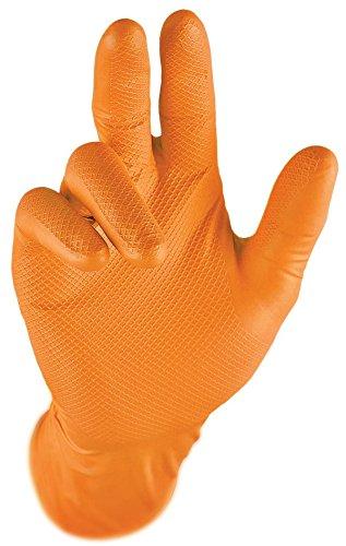 Gripster Skins Einweghandschuhe aus Nitril, extra robust, PPE Cat 3, puderfrei, Größe S, 50 Stück/25 Paar, Orange