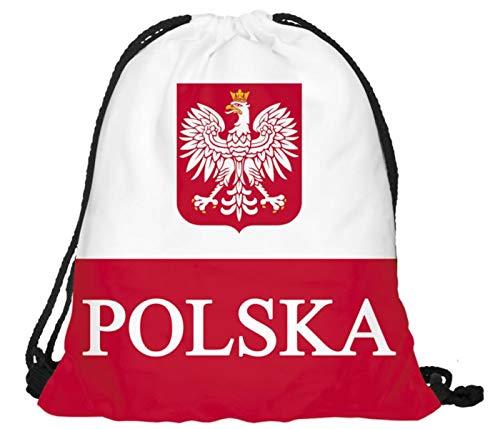 Sac à dos à cordon très pratique à ouvrir et fermer de sport Gym de voyage léger Alsino drapeau pays idéal pour supporter fan vos activités sportives pour fille garçon femme homme adulte enfant ados, choisir:RU-POL Pologne