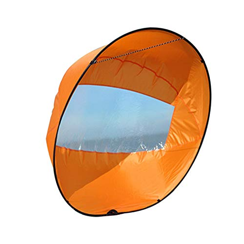QOTSTEOS Vela de viento para kayak, barco de kayak, vela de viento, tabla de remo, vela, canoa, remo, barcos de viento, ventana transparente para kayak, barco, velero, canoa (naranja)