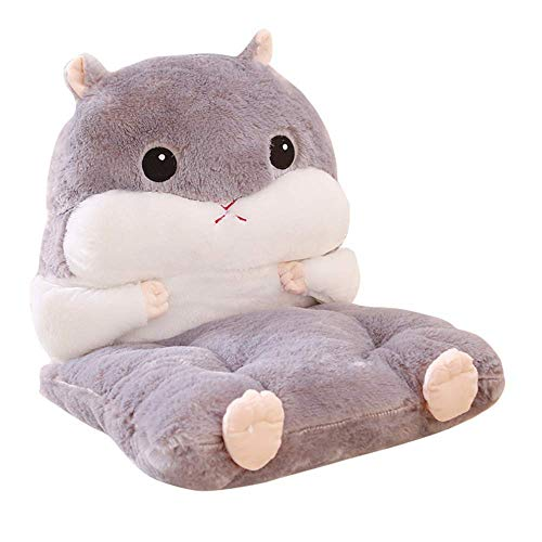 SAMILLEE Cartoon Hamster Chair Cushion Back Pad,Detachable Plush Stuffed Seat Back Cushion Best Cushion for Home/Office Chair,Car Seat,Recliner (Grey)
