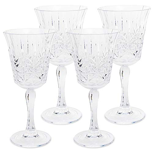 BELLAFORTE - Shatterproof Tritan Wine Glass Clear, 10oz, set of 4 Mrytle Beach Drinking Glasses - Dishwasher Safe Plastic Wine glasses - Unbreakable Glassware for indoor and Outdoor Use, BPA Free