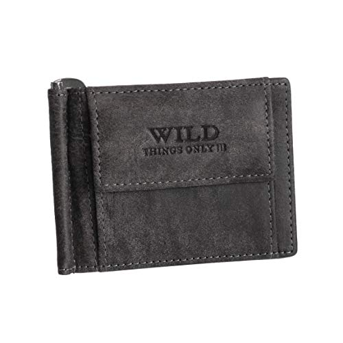 Dollar-Clip Herrenbörse von Wild Things Only - Geldklammer Geldbörse Geldbeutel Herren-Portemonnaie Lederbörse Börse aus Antik Leder (Grau) - präsentiert von ZMOKA®