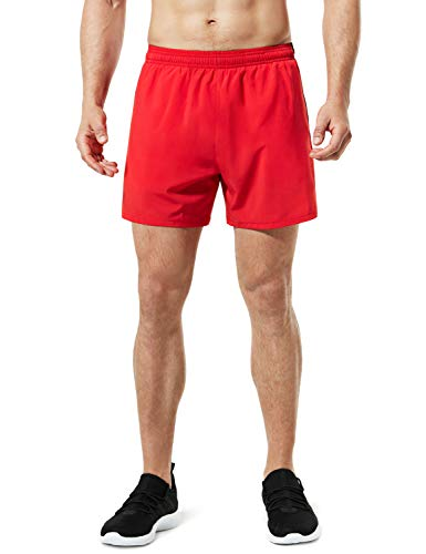 TSLA Men's Active Running Shorts, Training Exercise Workout Shorts, Quick Dry Gym Athletic Shorts with Pockets, 5 Inch Red, Large
