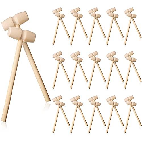 Runtodo Martillo de Madera de 48 Piezas Mazo de Langosta de Cangrejo de Madera Mazo de Madera Dura Golpear Juguete Herramienta de Martillo de Mariscos