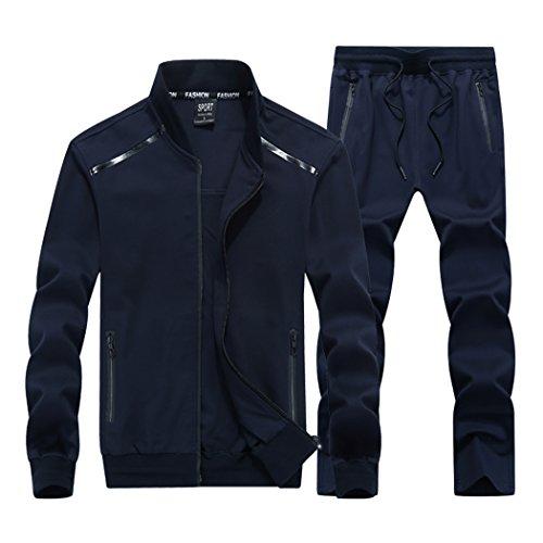 Modern Fantasy Men's Athletic Tracksuit Bomber/Hoodie Jackets & Pants Set Jogging Sweatsuit Big Darkblue L