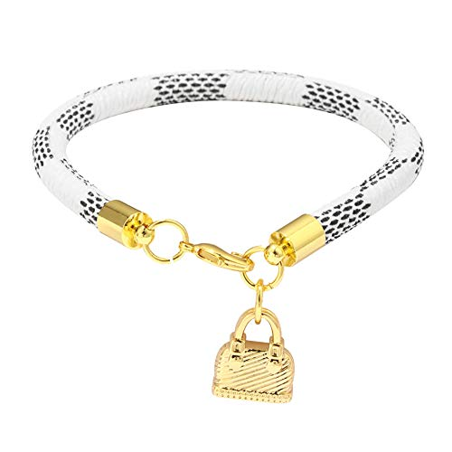 Thriving-Hong Street PU Bracelet Unisex Snake Lock Pendant Plated Circle Bangle Jewelry