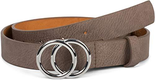 styleBREAKER Damen Gürtel Unifarben mit Ringschnalle, Hüftgürtel, Taillengürtel 03010093, Größe:85cm, Farbe:Taupe-Silber