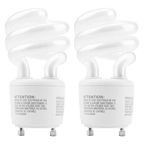 UL-Listed Gu24 CFL Light Bulbs JACKYLED Energy Efficient T3 13W 2700K 900lm Spiral GU24 Base Compact Flourescent Bulbs (2-Pack)