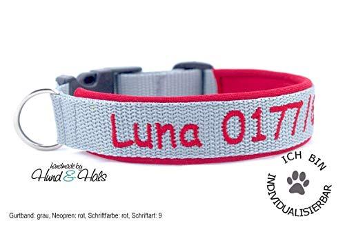 Hund&Hals - Halsband 1.0 - Hundehalsband mit Namen und/oder Telefonnummer bestickt personalisiert