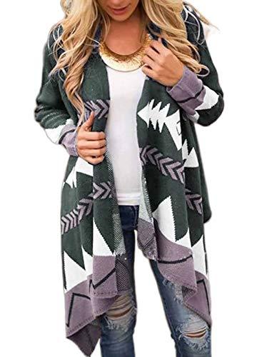 CORAFRITZ Cardigan tribale a maniche lunghe casual con orlo irregolare, da donna grigio M