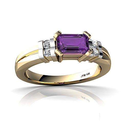 14kt Yellow Gold Amethyst and Diamond 6x4mm Emerald_Cut Art Deco Ring - Size 5.5