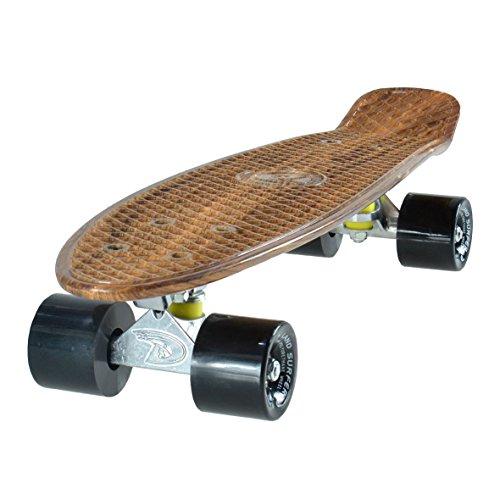 Land Surfer® Skateboard Cruiser Completo 56cm con tavola Effetto Legno - Cuscinetti ABEC 7 - Ruote Nere 59mm PU + Borsa per Il Trasporto