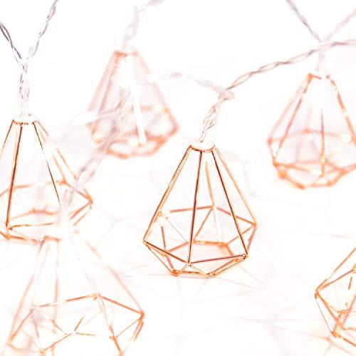 Vintage Lampenschirm Lichterketten,KINGCOO 20LEDs Rosé Gold Metall Polygon Laterne Käfig Geometrisches Lichter Batteriebetriebene für Home Patio Garten Hochzeit (Diamant)