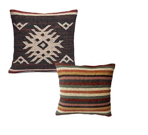 iinfinize - Juego de 2 fundas de cojín vintage Kilim, tejidas a mano, de lana, yute, de 45,72 cm, decorativa, para sofá, silla, cojín para suelo, decoración del hogar