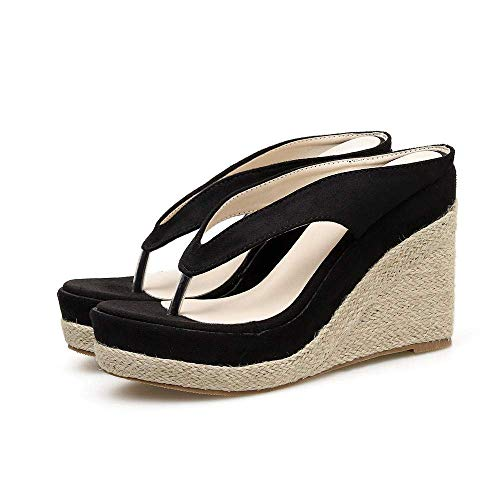 CCJW Toe de tacón de cuña Baja Sandalias, Cuesta Impermeable con Sandalias, Zapatillas de Paja al Aire Libre-Black_35, Voltear Sandalias del Dedo del pie Abierto de la Mujer kshu