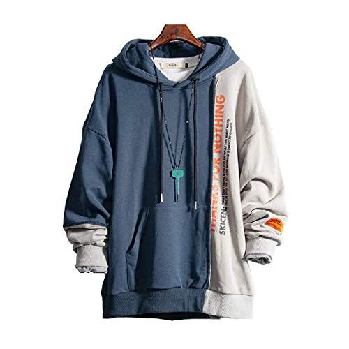 XIAOYAO Herren Kapuzenpullover Long Sleeve Sweatjacke Pullover Hoodie (Blau+Grau, L(Höhe:163-170cm Gewicht:50-55kg))