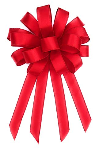 Down Home Designs Red Christmas Holiday Bows (3pack) Durable Indoor/Outdoor Wired 12 loop (10inx22in)