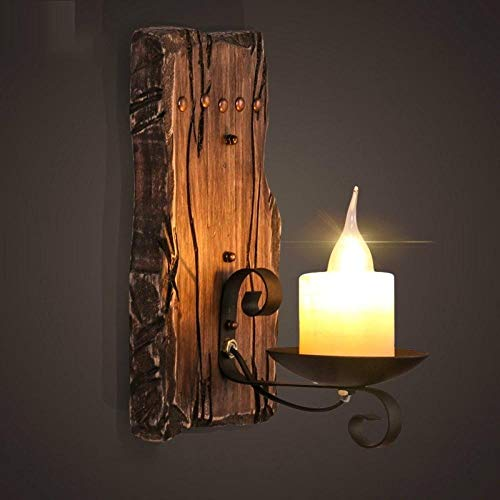 Retro Wandlampe Vintage Retro Old Wood Wandleuchten Vintage Iron Candle Wandleuchte Für Cafe Restaurant Bar Shop Korridor Leuchte