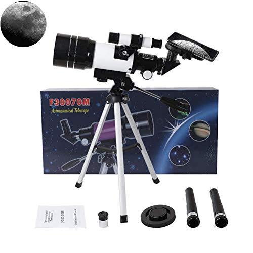 Telescopio refractor astronómico DealMux con trípode y visor, apertura de 70 mm, 300 mm, telescopio de viaje portátil para niños y principiantes