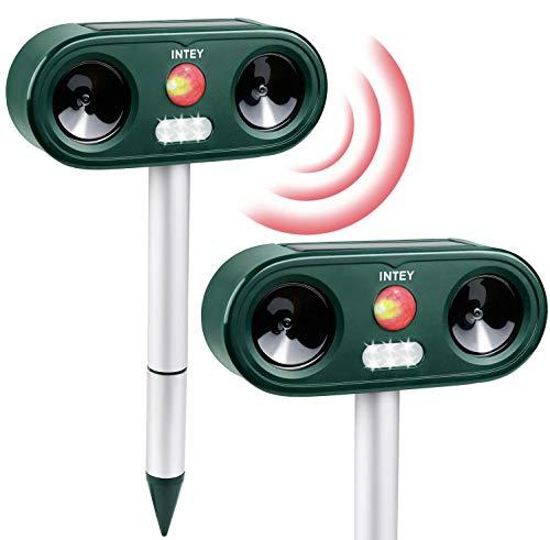 INTEY Repellente Gatti Ultrasuoni E LED Flash Per Gatti, Cani, Cinghiali, Ect, 5 Frequenze E Sensibilità Regolabile, Impermeabile IP 44& Solare, Per Esterno (Include Batteria E USB) - 2Pcs