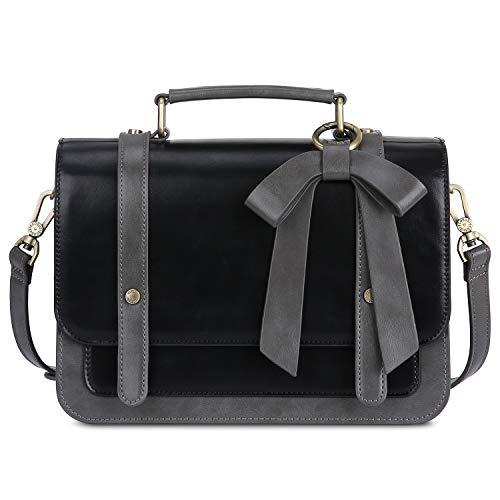 ECOSUSI Umhängetasche Damen Handtasche Kleine Schultertasche mit Abnehmbarer Schleife Crossbody Tasche Damen Schwarz