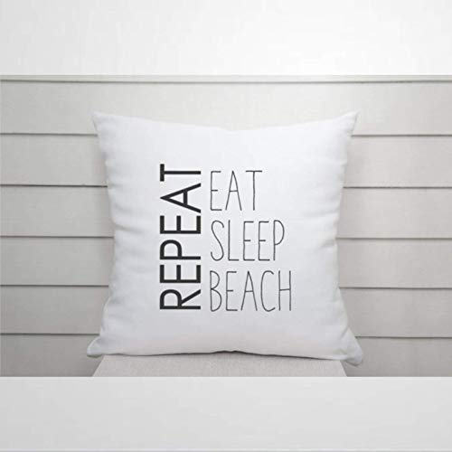 IUYG Eat Sleep Beach RepeatSoft - Funda de almohada cuadrada de microfibra para el hogar