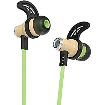 Symphonized NRG Bluetooth Wireless Wood in-Ear Noise-isolating Headphones, Earbuds, Earphones with Mic & Volume Control (Green)