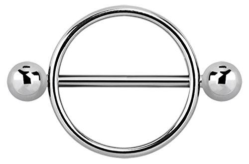 Brust Piercing Schmuck Schild, Öffnung 16 mm, 316l Stahl Ring mit Stab und Kugeln
